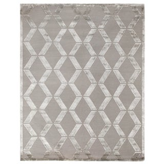 Vera Hand-Knotted Wool/Viscose Silver Rug - 8'x10' For Sale
