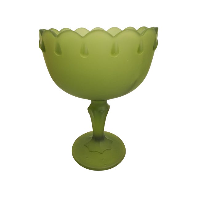 Vintage Indiana Glass Avocado Green Satin Goblet For Sale