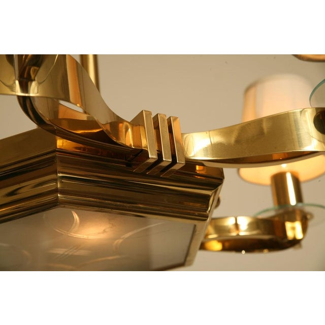 French Brass and Glass Chandelier Inspired by Gilbert Poillerat - Image 7 of 9