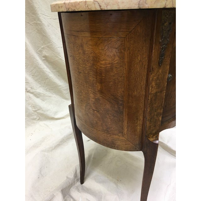 French Antique French Inlaid Marble Top and Decorative Bronze Ormolu Side Table For Sale - Image 3 of 12