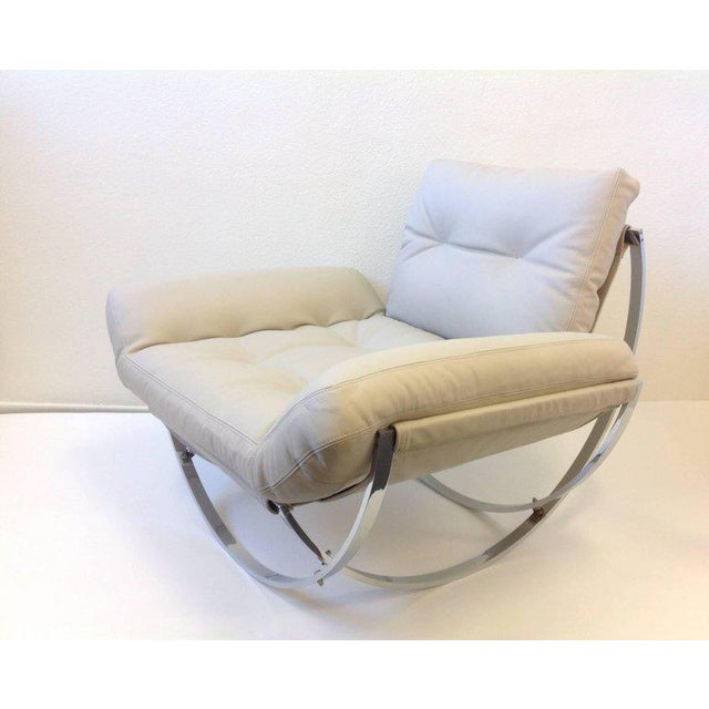 Modern Italian Polish Stainless Steel and Leather Lounge Chair and Ottoman by Leonart Bender for Charlton Co. For Sale - Image 3 of 13