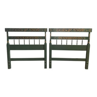 Hitchcock Green and Gold Stenciled Twin Headboards - a Pair For Sale