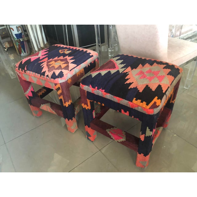 Vintage Boho Kilim Rug Upholstered Benches Stools Ottomans -A Pair For Sale - Image 11 of 13