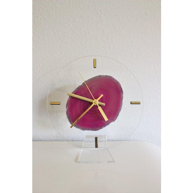 Modern Fuchsia Pink Agate & Acrylic Clock - Image 2 of 6