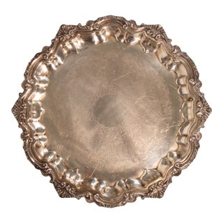 Mid Century Art Nouveau French Circular Footed Silver Plate Tray / Salver For Sale