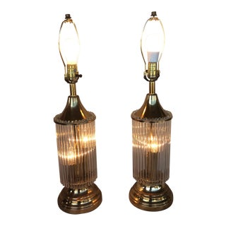 1960s Art Deco Brass and Glass Rod Lamps With Lit Bases - a Pair For Sale