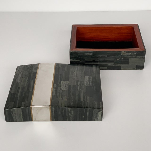 Karl Springer Tessellated Stone, Chrome and Brass Box For Sale - Image 10 of 13