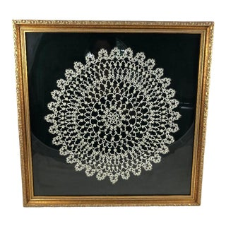 Early 20th Century Vintage Round White Lace Doily Collage For Sale