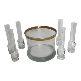 Tiffin Minton Style Vodka Crystal Glasses- Set 7 For Sale
