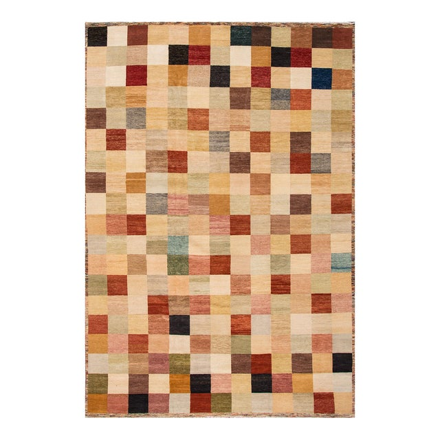 Apadana - Modern Oversize Multicolored Geometric Indian Gabbeh Rug, 10.06x15.06 For Sale