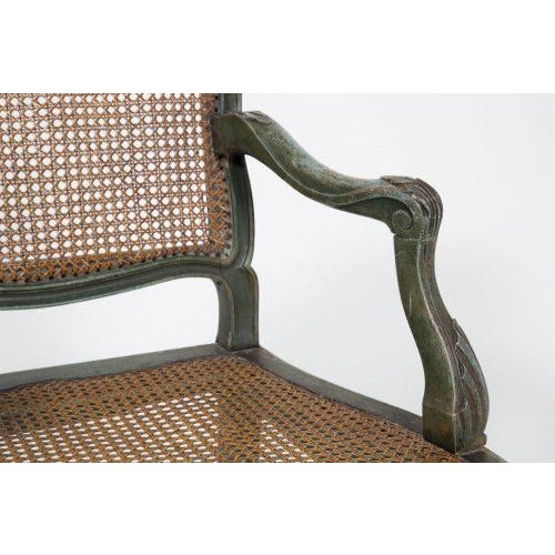 Classic French Green Armchair For Sale - Image 4 of 7