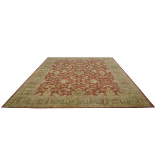 Traditional Hand Made Knotted Rug in Rose Pink and Green - 12′5″ × 15′8″ - Size Cat. 12x15 12x18 For Sale