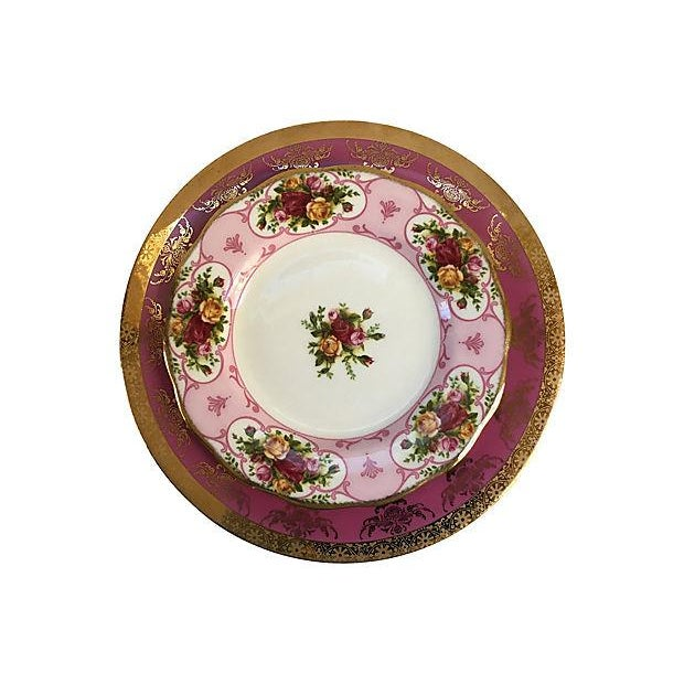 Pink Vintage Mismatched Porcelain Place Setting - Set of 5 - Image 5 of 9