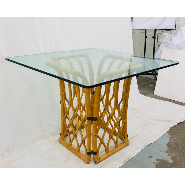 Boho Chic Rattan & Glass Table For Sale - Image 3 of 10