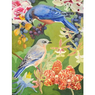 "Laurie Flaherty ""Duet"" Contemporary Flora and Fauna Gouache Painting on Paper For Sale"
