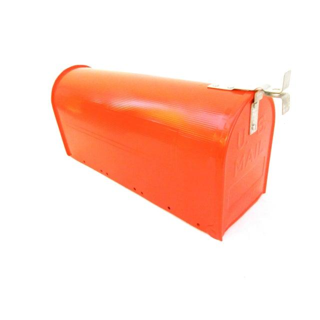 Vintage Industrial Fire Orange Metal Mailbox For Sale - Image 5 of 11