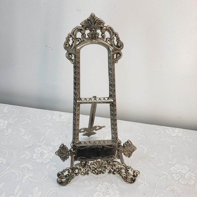 Mexican Vintage Silver Table Top Easel For Sale - Image 3 of 8