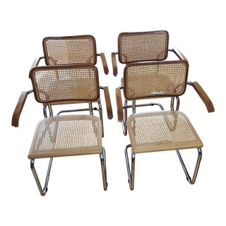 Mid-Century Modern Marcel Breuer Cesca Style Arm Chairs- Set of 4 For Sale