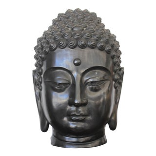 1960s 17 Inch Bronze Buddha Sculpture Signed by Artist With Third Eye, Pure Land Motif For Sale