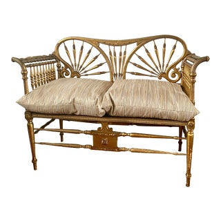 Antique French Gilded Settee For Sale