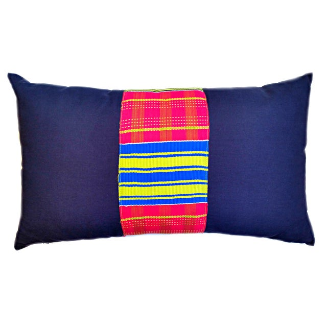 Vintage African Kente Cloth Lumbar Pillow Cover For Sale