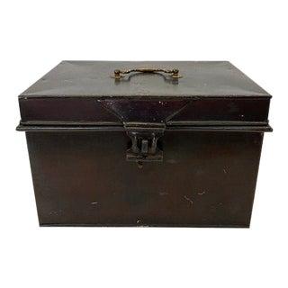 English Antique Large Black Metal Box For Sale