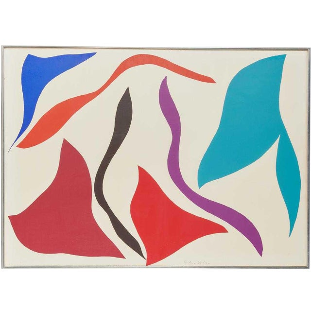 1970s Vintage Ray Parker Large Abstract Screenprint For Sale