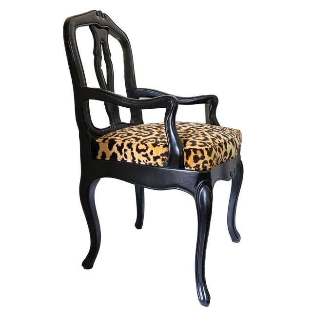 Black French Black Lacquer Wood Chair W/Animal Print For Sale - Image 8 of 9