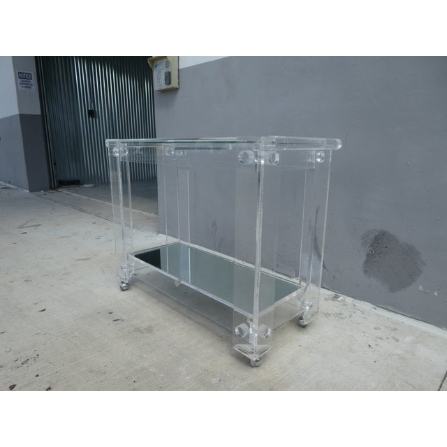 Mid-Century Modern High Quality Lucite Bar Cart For Sale - Image 3 of 8