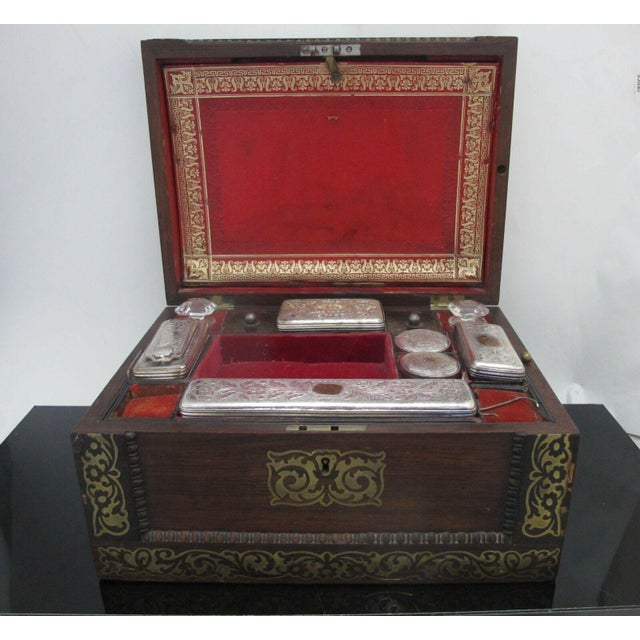Antique Wood Vanity Jewelry Box Glass with Sterling Silver Jars & Key Betty Mono For Sale - Image 12 of 12