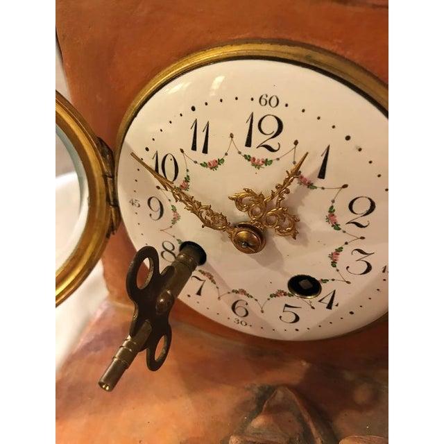 Orange French Terracotta Cherub Mantle Clock For Sale - Image 8 of 11