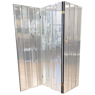 Henredon Three-Panel Beveled Mirror Room Divider For Sale