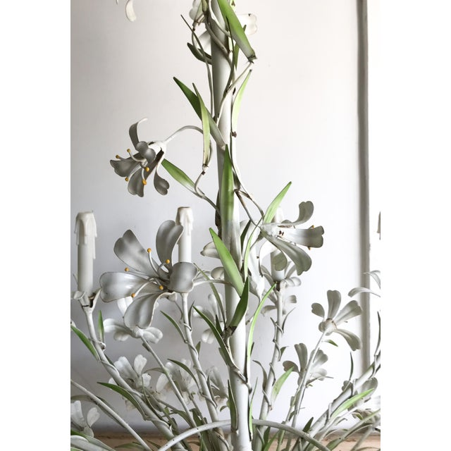 White Vintage Floral 1950s Monumental Italian Tole Painted Chandelier For Sale - Image 8 of 9