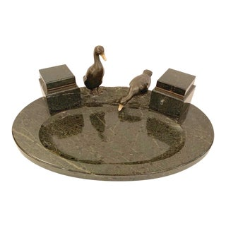 1920s Black Marble Inkwell With Bronze Ducks For Sale