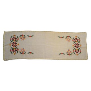 Vintage Europe Handmade German Polish Linen Table Runner For Sale