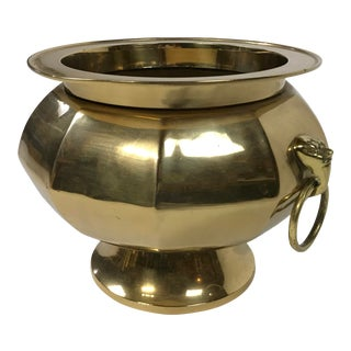 Brass Planter With Lion Head Handles For Sale