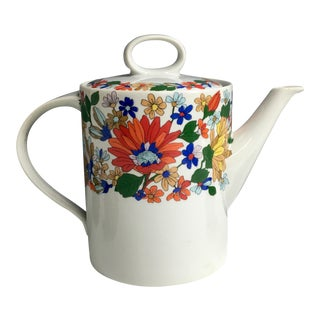 1970s Schmidt Porcelana Zinnia Floral Bordered Coffee Pot