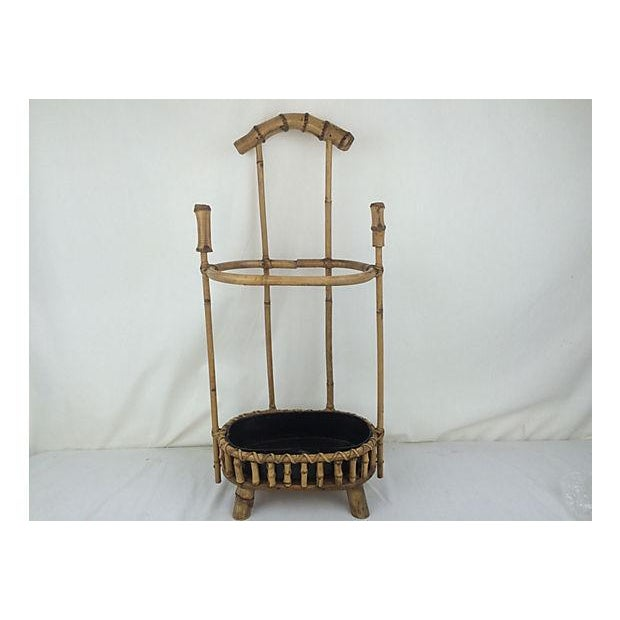 English bamboo umbrella stand with metal removable liner. Perfect for any entry or hallway setting!