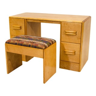 Mid 20th Century Heywood Wakefield Vanity and Bench or Child's Desk, C3574 and C3577 - a Pair For Sale