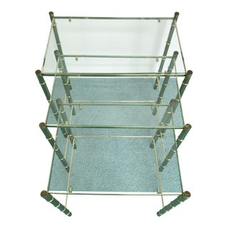 Vintage Glass Top and Metal Nesting Tables- Set of 3 For Sale