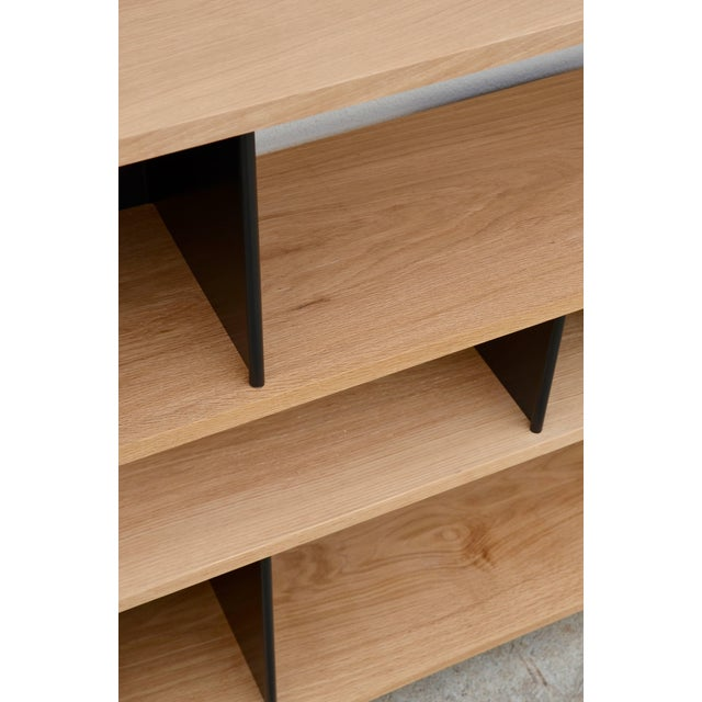 "Design Frères Low ""Horizontal"" Matte Black and Polished Oak Shelving Unit For Sale In Los Angeles - Image 6 of 7"