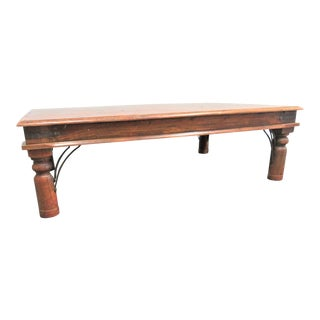 Rustic Wood and Iron Coffee Table For Sale