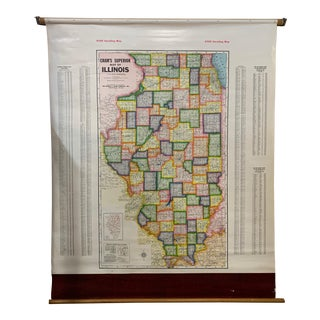 1960s Illinois State School Map For Sale