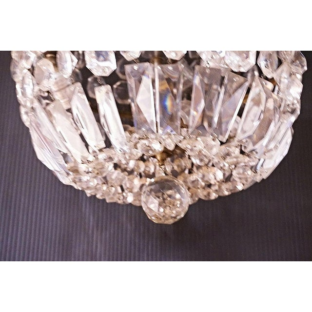 Brass & Crystal Dome Chandelier For Sale - Image 4 of 5