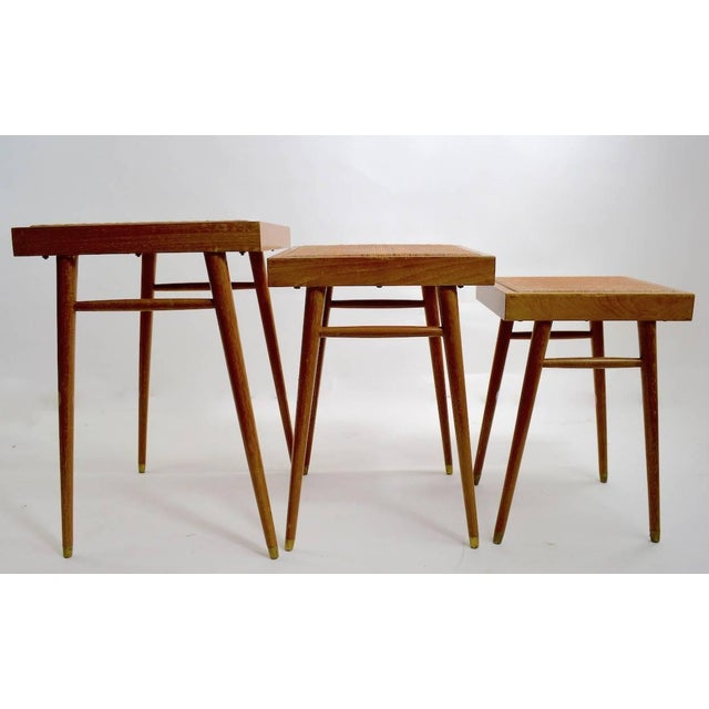 Mid-Century Modern Pair of Nesting Stacking Tables For Sale - Image 3 of 10