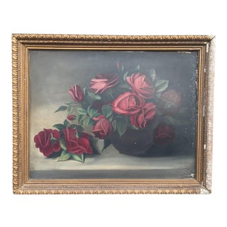 Shabby Chic Rose Original Oil Painting - Circa 1890s For Sale
