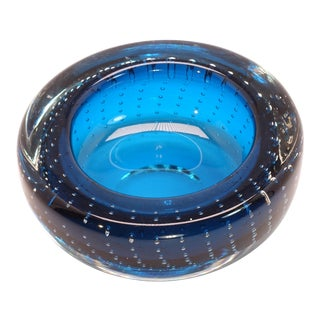 1960s Vintage Blue Murano Controlled Bubble Trinket Dish Ashtray For Sale
