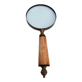 1960s Hollywood Regency Brass and Bone Magnifying Glass For Sale