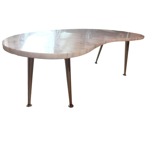 Mid-Century Modern Mid-Century Marble Kidney Coffee Table For Sale - Image 3 of 8