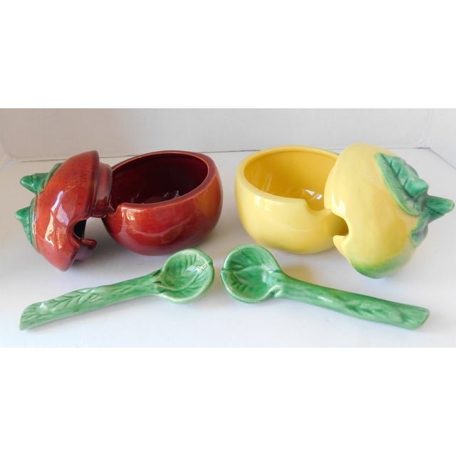 Vintage Majolica Ceramic Mustard & Ketchup Condiment Set - 4 Pieces For Sale - Image 4 of 12